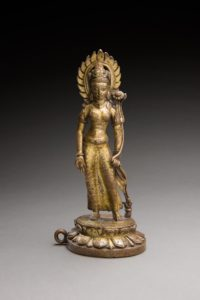 Nepalese bronze parcel-gilt standing figure of Tara, 9-10th century