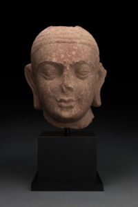 pink Indian Sandstone Head of Buddha, Mathuran District, Kushan Period, 2nd-3rd Century AC