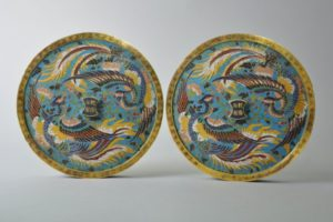 Pair of cloisonné mirrors