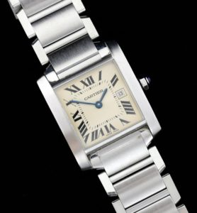 A stainless steel Cartier Tank Francaise bracelet watch carries a pre-sale estimate of between £1,000 and £1,500