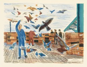 Alistair Grant, Pigeon Racing, 1962, colour lithograph, © The Estate of the Artist