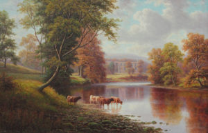 An oil on canvas of Bolton Abbey