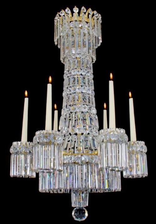 Regency six light cut glass ormolu mounted chandelier,