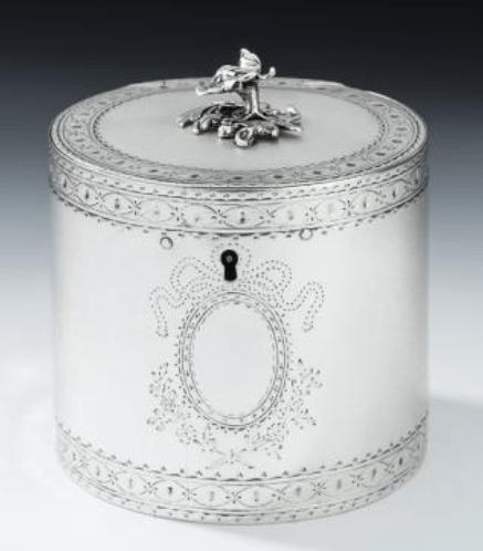 George III silver drum tea caddy
