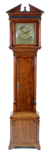 An antique longcase or grandfather clock