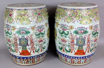 Chinese famille rose porcelain garden seats