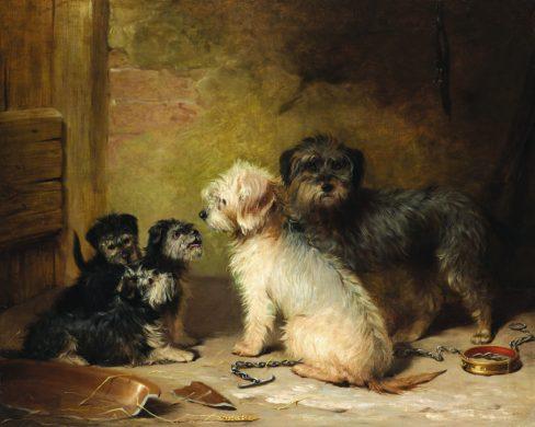 the earliest known oil painting of Dandie Dinmont terriers