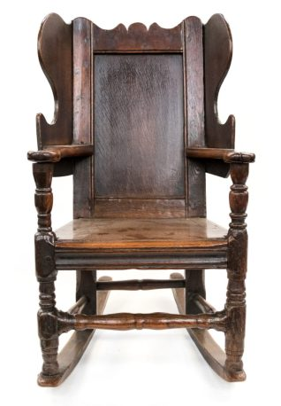 17th Century oak infants wingback rocking chair