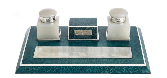 An Art Deco Shagreen desk piece in original condition featuring onyx inkwells with silver collars. Presented to Mrs Hilston Philipson, the third female MP to serve in the House of Commons, 1929, POA, exhibited by Smith & Robinson