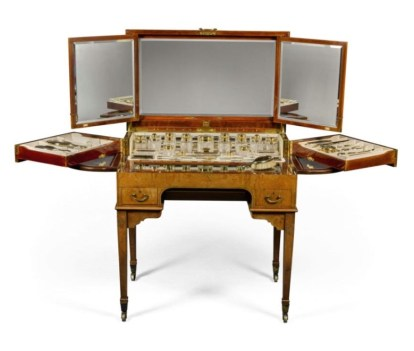 An Edwardian satinwood and ebony strung fitted dressing table (est. £12,000-18,000)
