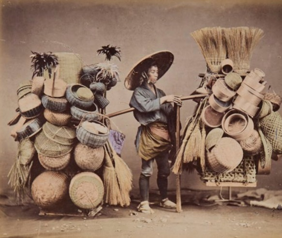 Felice Beato (1832-1909) and others Japan, 1860s-90s Fifty-two hand-coloured albumen prints, 31 titled in the negative, all mounted to both sides of card leaves, detached spine with missing front cover, each print approximately 20.5 x 25cm (8 x 9 ³/₄in) or the reverse; album 32 x 39.5cm (12 ⁵/₈ x 15 ¹/₂in)