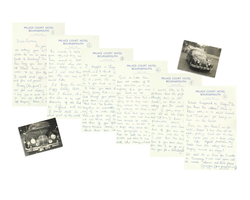 George Harrison An important six-page letter from George to Astrid Kirchherr, August 1963