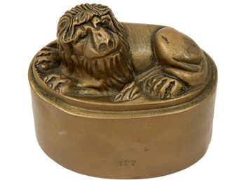 antique jelly mould of a lion