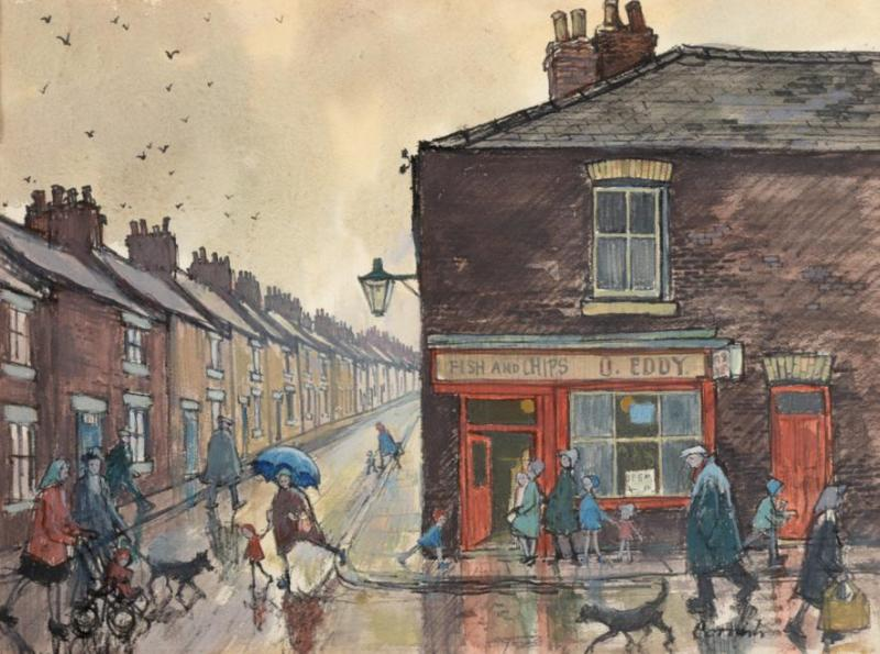 norman cornish outside Eddy's fish bar