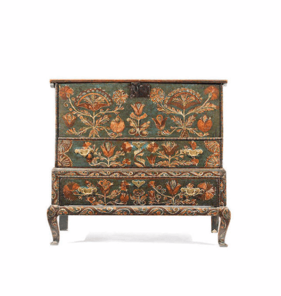 17th century painted oak chest