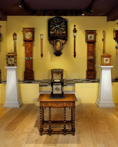 A selection of antique clocks on show from Howard Walwyn
