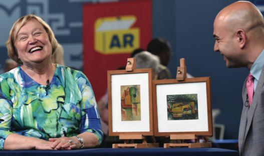 A valuation of works of art on a television programme