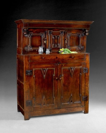 An antique court cupboard in the exhibition