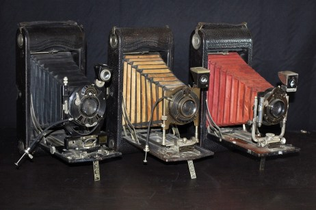 A collection of antique cameras