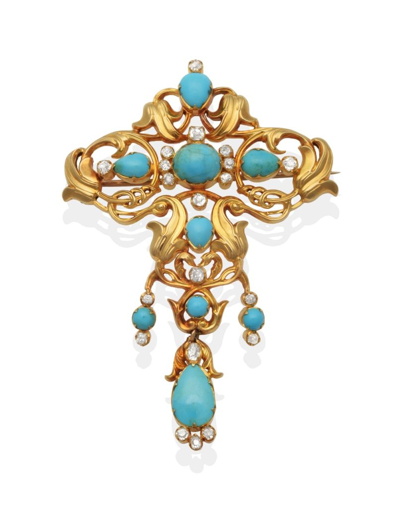 a Turquoise and Diamond Brooch given by Queen Victoria