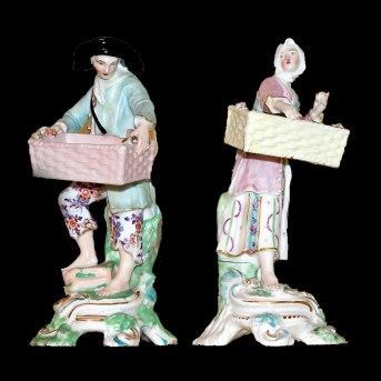 Derby fine and rare pair of figures of Street Vendors after Meissen originals c.1765