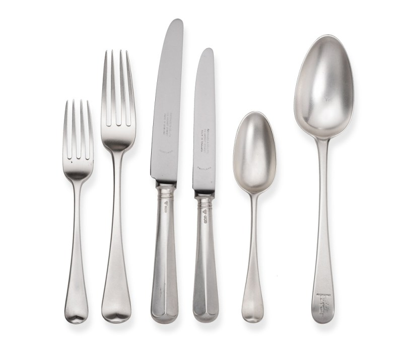 Composite Service of George II/III Silver Hanovarian and Old English Pattern Flatware