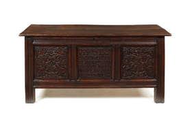 A Charles I oak marriage chest Estimate: £2,500 - £4,000