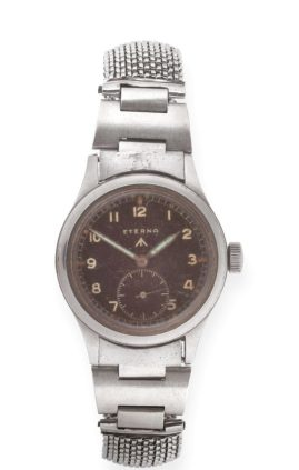 a stainless steel military wristwatch, signed Eterna