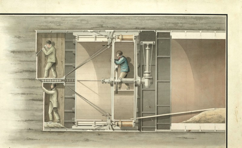 Marc Isambard Brunel Archive Design for Thames Tunnel, Watercolour