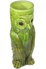 Antique ceramic owl candlestick