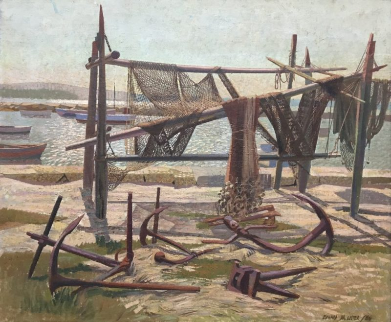 Edward D'Arcy Lister painting of draped fishing nets