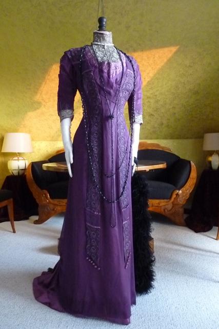 Art Nouveau Purple Silk Dinner Gown ca 1912  www
