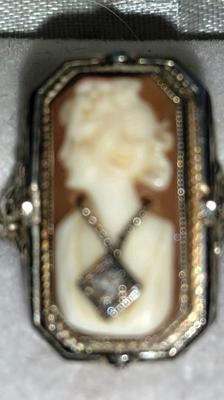 cameo and black onyx flip ring