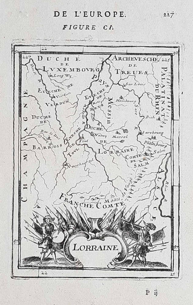 17th Century Map of Lorraine in France