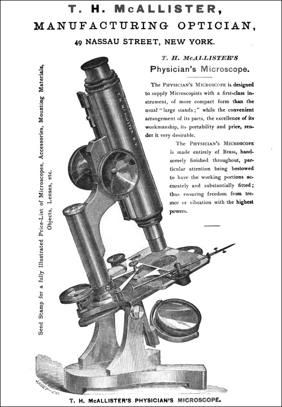T. H. McAllister, N. Y. The Physician's Model Microscope