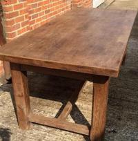 Antique Oak Rustic Hstretcher farmhouse table, vintage ...