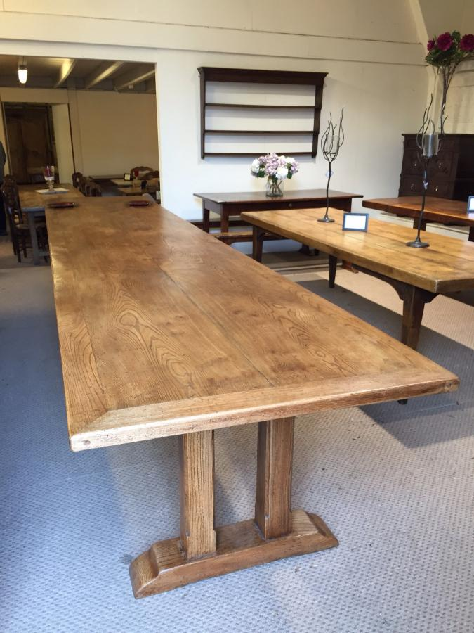 Very Large Elm Refectory Table Large Table Antique Large