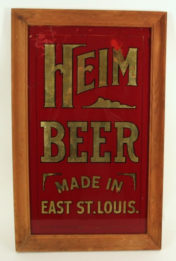Antique Advertising Expert Brilliant Red Reverse-glass Brewery Corner Sign Heim Beer