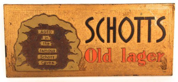 Antique Advertising Expert Schotts Lager Meyercord Beer Sign Schott Brewery Highland