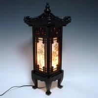 Wood Shade Asian Oriental House Lantern Bedside Dragon Art ...