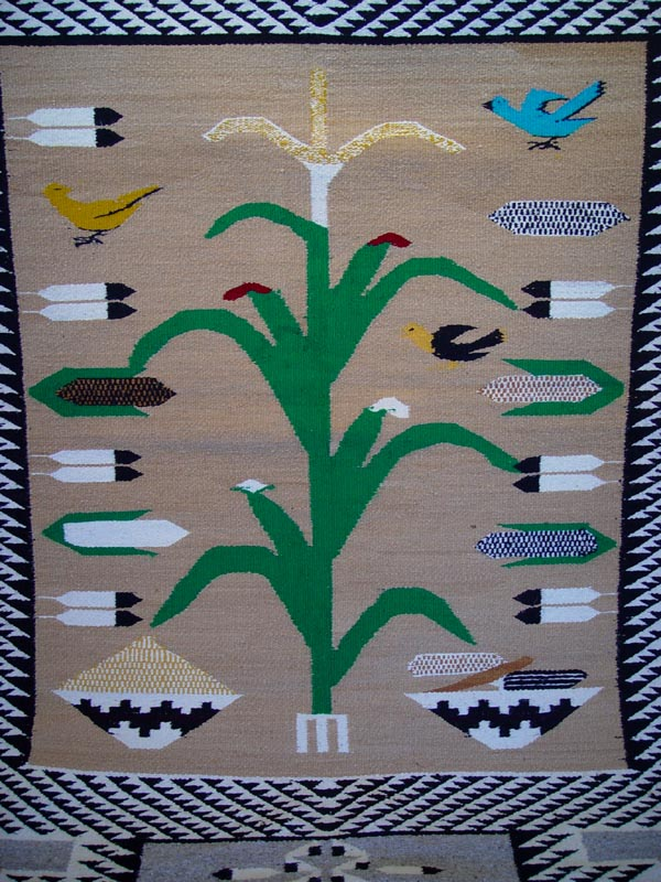 1244066 Navajo Rug Storm Pattern with Birds Corn
