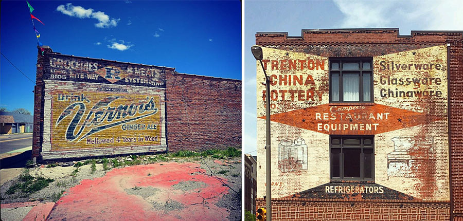 LEFT: Vernor's ginger ale ghost sign in Detroit. Photo by @bealebo RIGHT: Trenton China Pottery in Old City, Philadelphia photo by @danehorvath