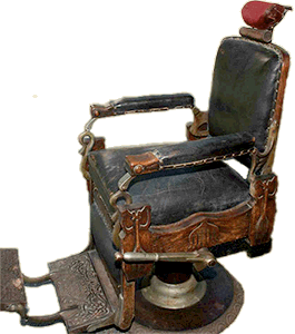 antique wood barber chair upside down on table restoring old chairs online