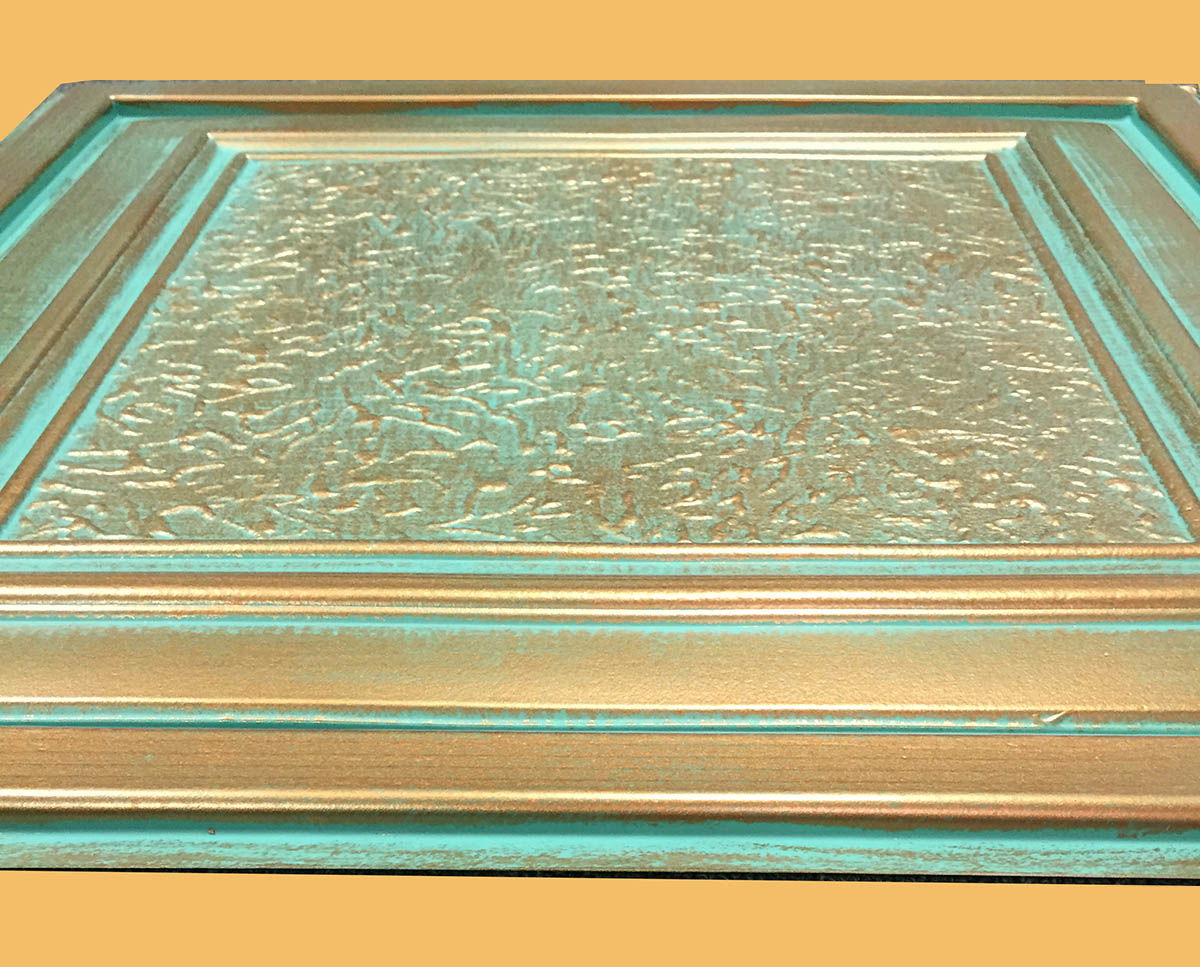 24 x24 zeta antique copper patina pvc 20mil ceiling tiles