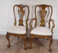 Queen Anne Chairs 8 foot Italian Marquetry Dining Table 8