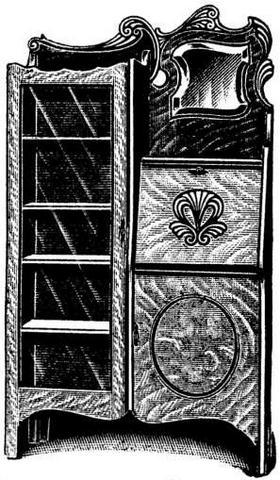Antique Quarter Sawed Golden Oak Combination Bookcase Desk