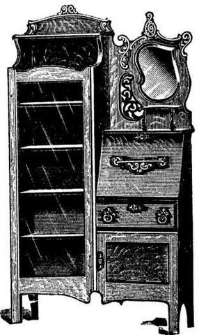 Antique Combination Bookcase Writing Desk At Antique