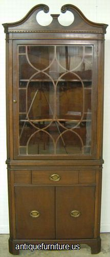 Antique Mahogany Corner China Cabinet at Antique FurnitureUS