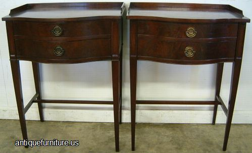 Antique Pair Flame Mahogany Night Stands At Antique