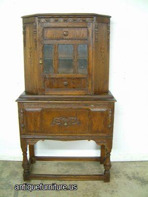 Antique Bernhardt Castle Oak China Cabinet at Antique